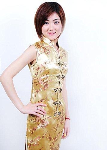 Smile YKK Femme Robe Courte Cheongsam Qipao Satin avec Bouton V Col Or