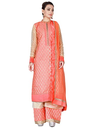 Fashionista Coral Peach Art Silk Palazzo Suit Size :38 Color : Peach