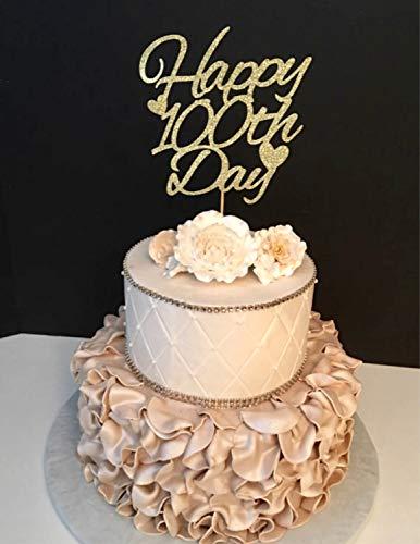 100Th Day Happy 100 Days 100 Days 100 Days Bridal Shower Gift Custom Cake Toppers Hochzeit Dekoration Geschenk für die Braut ()