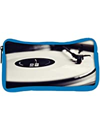 Snoogg Eco Friendly Canvas Vinyl Record Player Black And White Designer Student Pen Pencil Case Coin Purse Pouch...