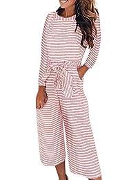 e70a29ca929a NPRADLA Women 2018 Long Sleeve Stripe Jumpsuits Lady Loose Playsuit Long Wide  Leg Trousers