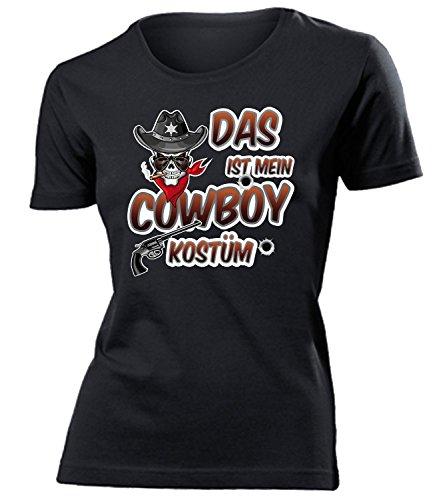 Cowboykostüm Cowboy Kostüm Kleidung 4487 Damen T-Shirt Frauen Karneval Fasching Faschingskostüm Karnevalskostüm Paarkostüm Gruppenkostüm Schwarz M