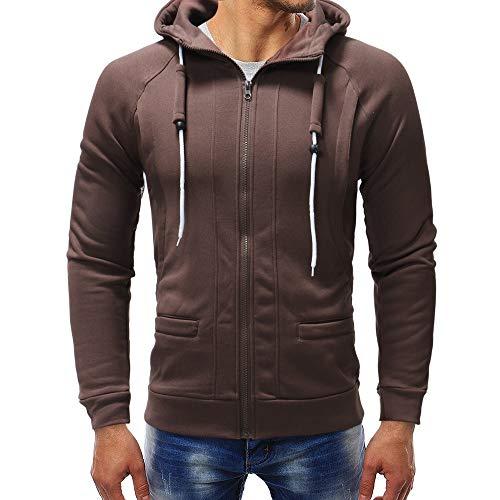 OSYARD Herren Solide Full-Zip Kapuzenpullover Hoodie, Langarm Herbst Winter Rundhalsausschnitt Sweatshirt Sweatshirt-Jacke Kapuzenjacke Outwear (L, Kaffee)