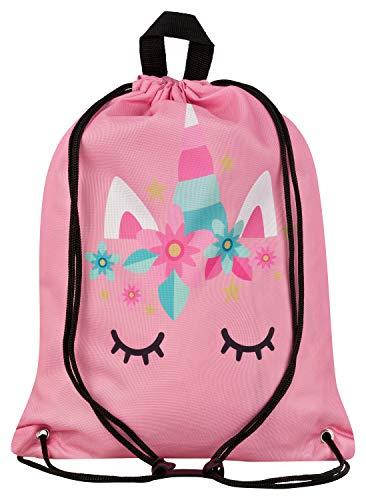 Aminata Kids - Kinder-Turnbeutel für Mädchen mit Unicorn Sache-n Pferd-e Haus-Tiere Einhorn Sport-Tasche-n Gym-Bag Sport-Beutel-Tasche rosa