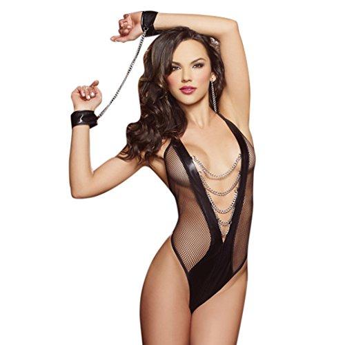 Sasairy Frau PU Leder Lingerie Offene Nachtclub Sexy Kleid Anzug Kostüme (Inklusive Armbänder und Ketten) Farbe Schwarz 002