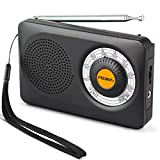 PRUNUS J-115 FM/AM(MW) Radio Portable à Transistor DSP, Alimentée par 2 Piles AA, [Paire d'écouteurs gratuits Incluse], avec...
