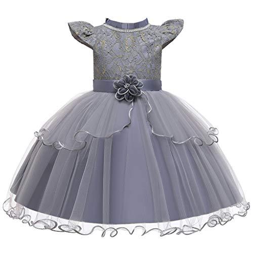 Deloito Kleinkind Baby Prinzessin Kleid Kinder Mädchen Elegante Abendkleid Fliegen Ärmel Patchwork Tüll Mesh Kleider Blumen Rüschen Prom Partykleider (Grau,110/3-4 T)