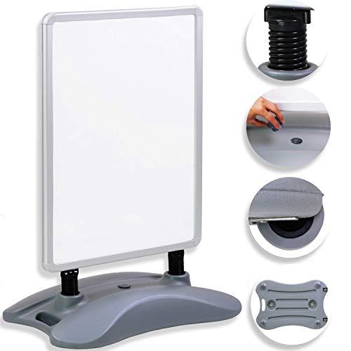 Kesser® A1 Kundenstopper ✓ Plakatständer ✓ Werbetafel ✓ Werbeträger ✓ Gehwegaufsteller | Standfuß | Farbe: Silber
