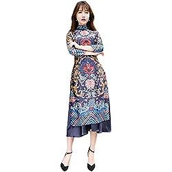 Hzjundasi Chino Style Tradicional Dragón Impreso Mejorado Dos Capas Cheongsam Vestido Manga Larga Qipao Robe M