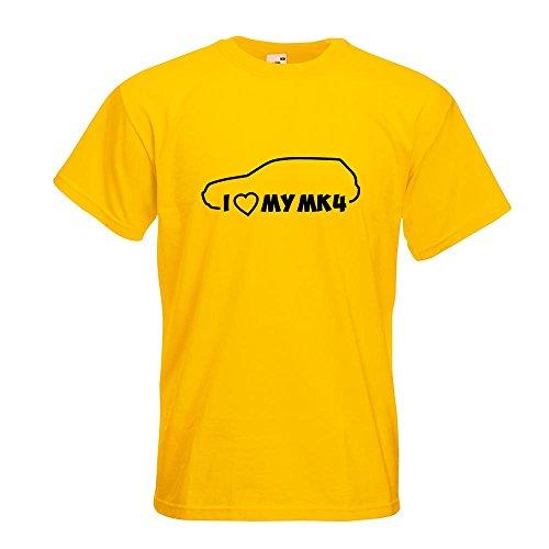 KIWISTAR - I Love my MK4 T-Shirt in 15 verschiedenen Farben - Herren Funshirt bedruckt Design Sprüche Spruch Motive Oberteil Baumwolle Print Größe S M L XL XXL Gelb