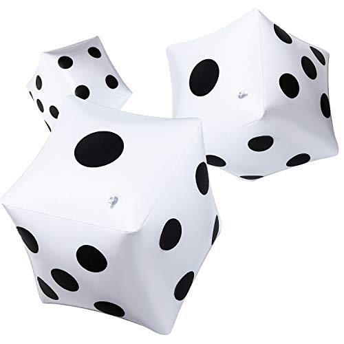 3 Piezas de Dados Grandes Hinchables 12 Pulgadas Blancos para Juego Piscina...