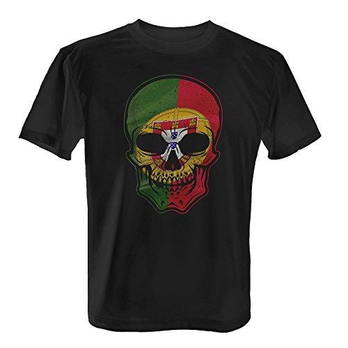 Fashionalarm Herren T-Shirt - Portugal - Totenkopf | 2018 Cooles Fan Shirt Trikot Fußball Weltmeisterschaft WM Weltmeister Flagge Fahne Skull, Farbe:Schwarz;Größe:4XL