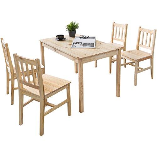Holz Esszimmer Tisch Stühle (FineBuy Esszimmer-Set Emilio 5 teilig Kiefer-Holz Landhaus-Stil 108 x 73 x 65 cm | Natur Essgruppe 1 Tisch 4 Stühle | Tischgruppe Esstischset 4 Personen | Esszimmergarnitur massiv)