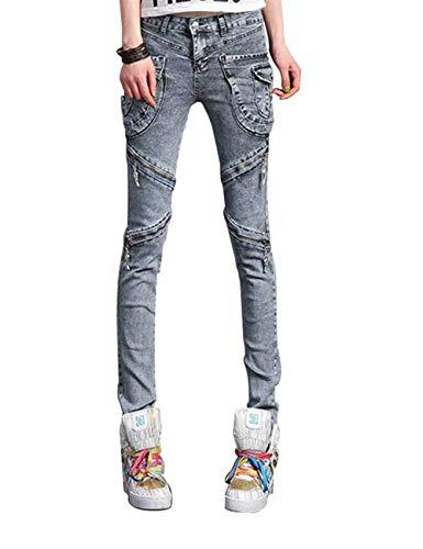 Mujeres Punk Motocicleta Cargo Harem con Vaqueros Pantalones Cremallera Modernas Casual Colores Sólidos con Bolsillos Color Sólido Pantalones Lápiz Denim Casuales (Color : Grau, Size : 31)
