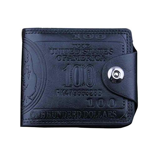 HARRYSTORE Herren Kreative Dollar Muster Brieftasche Leder Multilayer Geldbörse (Schwarz) (Brieftasche Gesteppte)