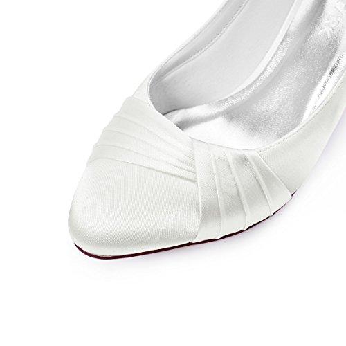 ElegantPark HC1608 Femme Bout Ferm¨¦ Confort Doublure Pliss¨¦ Satin Chaussures de Mariage Mari¨¦e Ivoire