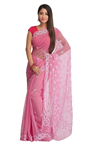 ADA Hand Embroidery Lucknowi Chikankari Faux Georgette Saree A204743