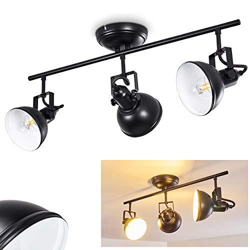 Deckenleuchte Tina, Deckenlampe aus Metall in Schwarz/Weiß, 3-flammig, mit verstellbaren Strahlern, 3 x E14-Fassung, max. 40 Watt, Retro/Vintage Design -