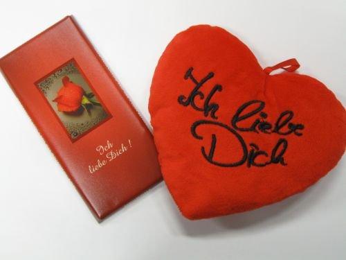Preisvergleich Produktbild 18-Geschenkset Plüsch-Herzkissen Ich liebe Dich und Schokolade ,  100 gr.