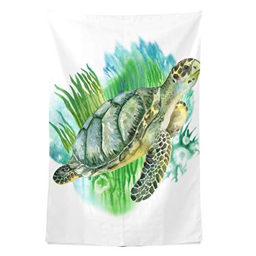 Unterwasser Ozean Sea Life Tier Green Turtle Wandteppich Wandbehang Cool Post Print Für Wohnheim Home Wohnzimmer Schlafzimmer Tagesdecke Picknick Bettlaken 80 X 60 Zoll -