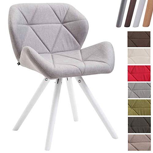 Clp sedia design rétro tyler in tessuto - poltroncina deco gambe tonde e telaio in legno di faggio i sedia visitatore con schienale i portata max 125 kg grigio chiaro bianco (rovere)
