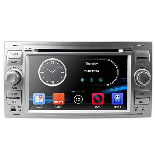 Silber 7 Zoll 2 Din Autoradio Moniceiver DVD GPS Bluetooth Navigation für Ford C-Max/Connect/Fiesta/Focus/Fusion/Galaxy/Kuga S-Max/Transit/Mondeo