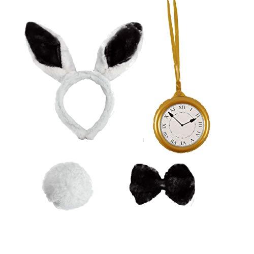 Seemeinthat schwarzes Kaninchen Stirnband mit aufblasbarer Uhr, Wunderland verrückter Hutmacher Bauernhof-Party Ostern Halloween Hase Fancy Dress Zubehör