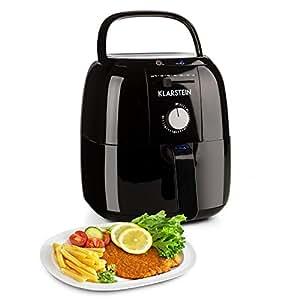 Klarstein VitAir Fries Basic • Heißluftfritteuse • Fritteuse • 1400 Watt • 3 Liter • Öl-frei Frittieren • Braten • 80-200 °C • einfache Bedienung • Betriebsanzeige • Gummifüße • schwarz