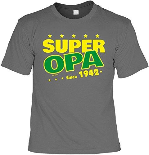 T-Shirt Super Opa since 1942 T-Shirt zum 75. Geburtstag Geschenk zum 75 Geburtstag 75 Jahre Geburtstagsgeschenk 75-jähriger Anthrazit
