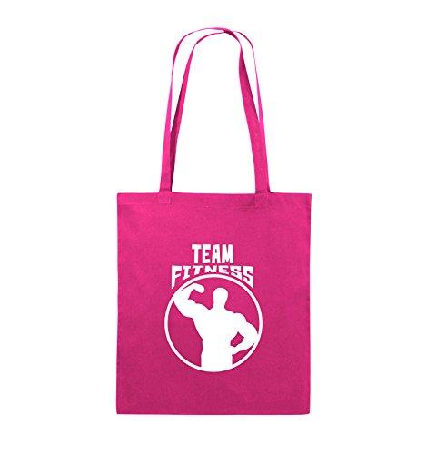 Comedy Bags - TEAM FITNESS - Jutebeutel - lange Henkel - 38x42cm - Farbe: Schwarz / Pink Pink / Weiss