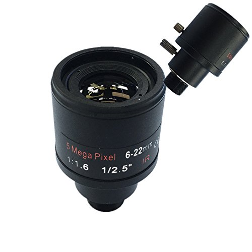 SODIAL CCTV objektiv 1 / 2,5 zoll 6-22mm 5MP M12 montieren varioobjektiv F1.6 Fuer 4MP / 5MP CMOS / CCD Sensor Sicherheit IP / AHD Kamera (Cmos-kamera Sicherheit)