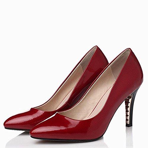 WSS chaussures à talon haut Astuce de fashion style Europe plating chaussures sexy à talons hauts talon couleur bonbon en cuir Red