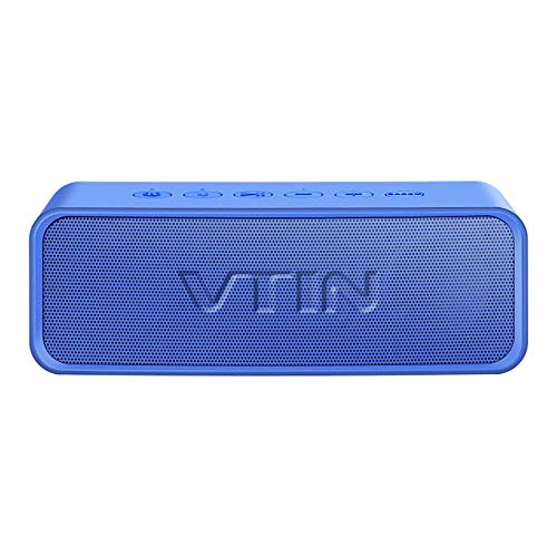 VTIN R2 Bluetooth Lautsprecher, Tragbarer Dual-Drive-Basslautsprecher, Wasserdichtes IPX6, Integriertes Mikrofon, Verbesserter Musikbox,Unterstützt 24-Stunden-Musikwiedergabe(Blau)