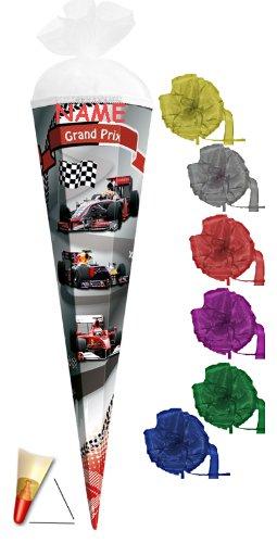 Unbekannt Schultüte - Grand Prix - 22 cm - incl. Namen und Schleife mit Tüllabschluß - Zuckertüte Roth Auto Rennwagen Autos Formel 1 Ferrari