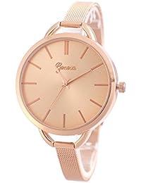 HESION Reloj de pulsera de oro rosa, para mujeres, pulsera de acero inoxidable