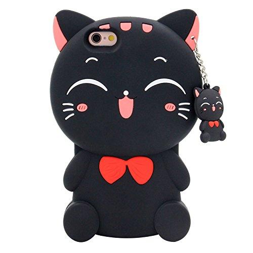 3D Silikon Lucky Fortune Kitty mit Cute Bow Tie Telefon Schutzhülle Für Apple iPhone 6/6S (11,9cm Zoll) in schwarz