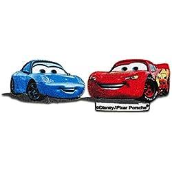 Toppe termoadesive - Cars Lightning McQueen & Sally Disney comico bambini - rosso/blu - 10x3,4cm - Patch Toppa ricamate Applicazioni Ricamata da cucire adesive