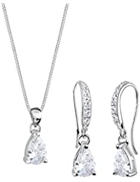 Elli Damen-Halskette + Ohrringe Tropfen 925 Sterling Silber Zirkonia Tropfenschliff