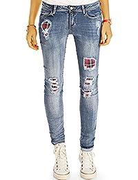 Bestyledberlin Damen Jeans, Skinny Hosen eng, Stretch Röhrenjeans, Zerissene Hüftjeans Slim Fit j81kw