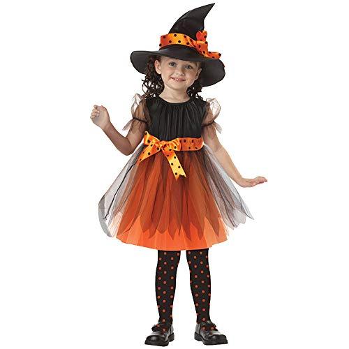 POLPqeD Halloween Disfraz Traje Halloween Decoracion Mascarada y Fiesta Sudadera Estampada para bebé Disfraces de Disfraces de Halloween para niños Falda y Sombrero 2pcs