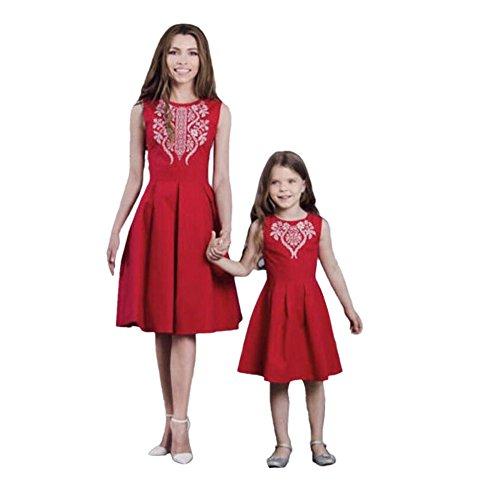 LUCKDE Kleid Mutter Tochter, Damen Abendkleider Kurz Matching Outfits Mother Daughter Sommerkleider...