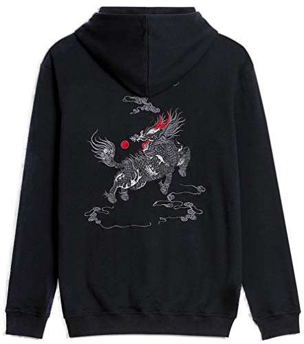 FLYCHEN Damen Kapuzenpullover Chinesische Stickerei Hoodie Anime Kapuzenpullover Glückverheißende Tiere Kapuzenpullover Kirin Drache Koi(M,QL) (Koi-hoodie)