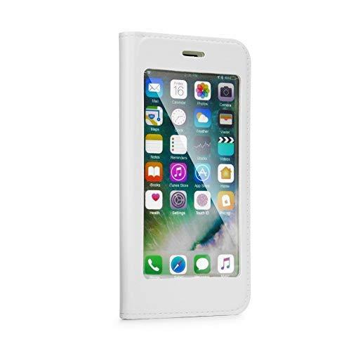 cofi1453 Full View Buchtasche Handyschale Zubehör 360 Grad Tasche mit Display Hülle Schale Schutz für Huawei Y7 2018 in Weiß