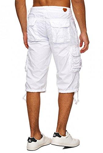 Herren Cargo Shorts Jeans Bermuda Hose Baumwolle H1740 Weiß