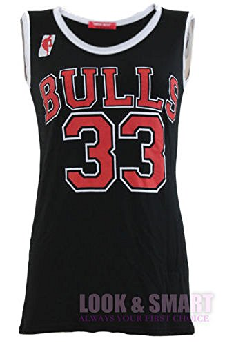 NEUE DAMEN FRAUEN VARSITY AMERICAN BASKETBALL BULLS 33 JERSEY HEMD T-SHIRT TOP (EU 36/38 (UK SM), Schwarz (black)) (Basketball-jersey-shirt)