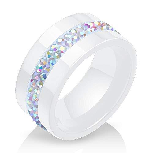 en Set mit 2 Reihen von Kristall Diamant Ring einfach Schwarze und weiße keramikringe ()