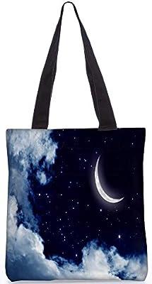 Snoogg Luna y Estrellas 265913,5X 15Pulgadas Utilidad De Compras Bolso De Mano Hecha fr...