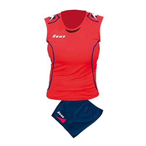 Zeus Damen Volleyball Trikot Hose Shirt Indoor Handball Training Ausbildung KIT DONNA FAUNO BLAU ROT (S)