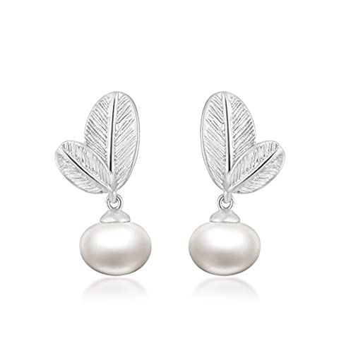 18K Gold Plated - 6mm Natural Freshwater Oval Pearl - Form Leaf Earrings For Women (White)