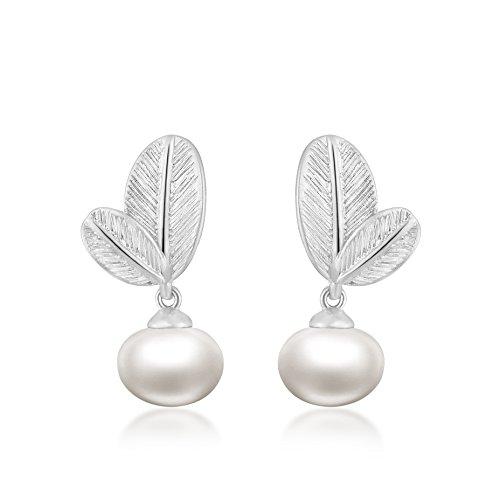 Ohrstecker Ohrringe Damen - Die Form der Foliage - Silber Plattiert - 6mm Natürliche Schale Perle - AAA Zirkonia